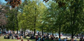 Ein voller Park mit Menschen während der Coronapandemie