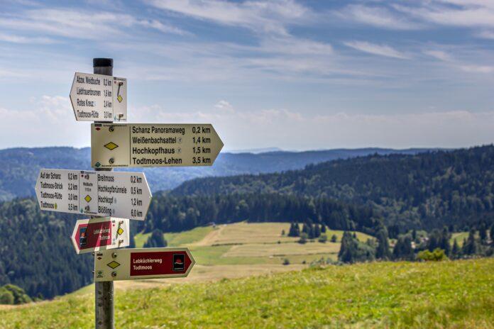 Besucherschild im Schwarzwald mit Wanderwegen