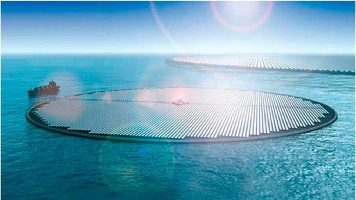 Gigantische Solarinseln auf dem Meer