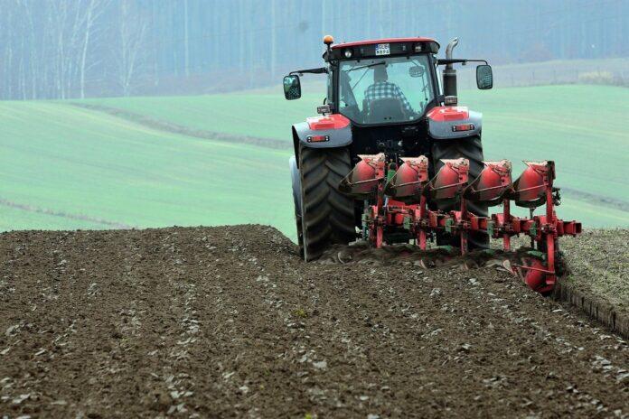 Landwirt mit Traktor auf dem Feld